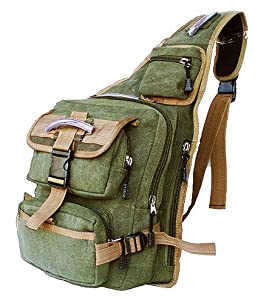 Buy Military Inspired Canvas Sling Bag Backpack Daypack Olive Drab by STIC