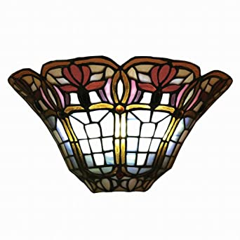 Exciting Lighting AMB3002 Wireless Wall Tiffany Classic Floral Sconce Half