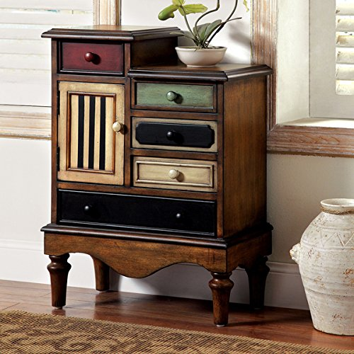 Furniture of America Antique Walnut Cerse Vintage Style Multi-colored Funky Chest