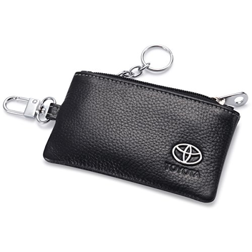 Toyota Car Key Holder Remote Cover Fob with 1 Metal Keychain - Genuine Leather (Toyota Rav4 Key Fob Cover compare prices)