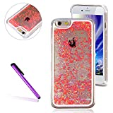 iPhone 6/6S Case, EMAXELER Fluorescent Stars Series 3D Glitter Liquid Floating Change Color Sequins Bling Moving Protective Hard Case for iPhone 6/ 6S + Send 1Pcs Stylus Pen--Blue