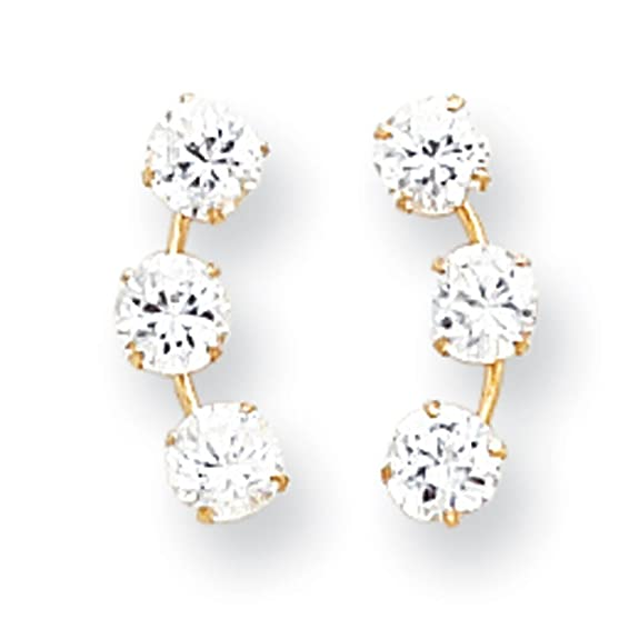 14k Gold Curved 3-Stone CZ Post Earrings - Measures 15x6mm