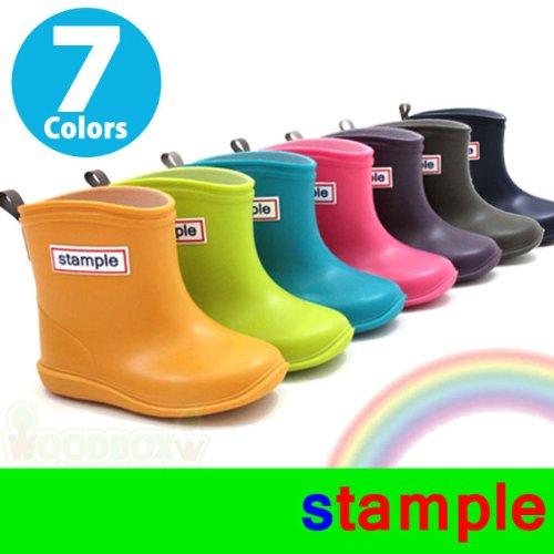 stample(スタンプル)レインブーツ【6色】13cm?19cm|レインシューズ|75005 (13cm, パープル)