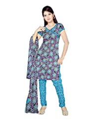 Sonal Trendz Women's Polyester Blue Printed Dress Material - B00VHPD5E0