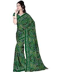 SB Creations Women's Bandhani Saree (SB_129-Green)