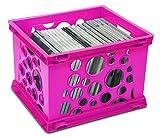 Storex Mini Crate, 9 x 7.75 x 6 Inches, Neon Pink, Case of 24 (STX61584U24C)