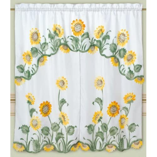 Dreamhome Arianas Sunflowers Kitchen Curtain White