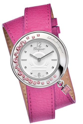 Ferragamo Women's F64SBQ91201 S109 Gancino Sparkling Stainless Steel Fuchsia Double-Tour Watch