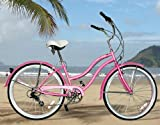 "New Micargi 26"" 7 Speed Ladies Bike Beach Cruiser Bicycle Tahiti Pink"