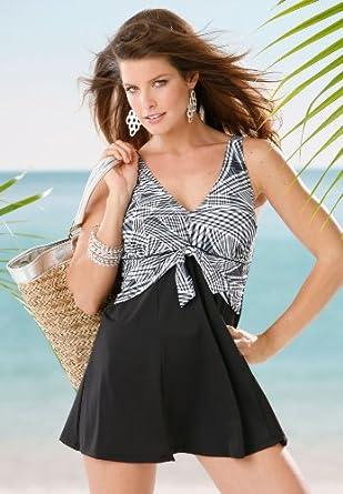 Roamans Plus Size Tie Front Swimdress Cover Ups Catalog