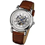 PACIFISTOR Men's Winding Up Mechanical Wrist Watch White Dial Analogue Silver Brown Leather
