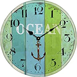 Grazing 5 Blue Green Colorful Stripe Design Arabic Numeral Design Rustic Country Tuscan Style Wooden Decorative Round Wall Clock (Ocean2)