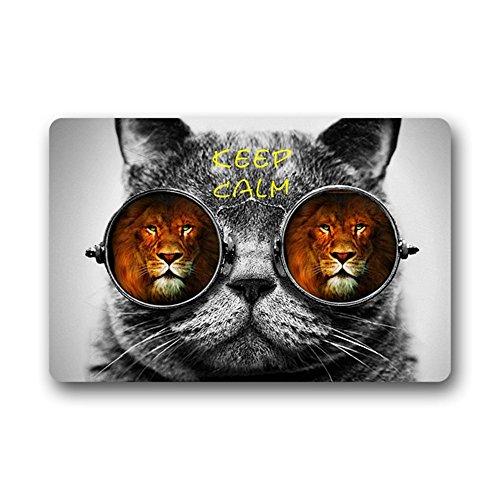 """Funny Cat Sunglasses Keep Calm Lions Cool Doormat Mat 23.6""""(L) X 15.7""""(W) front-961847"""