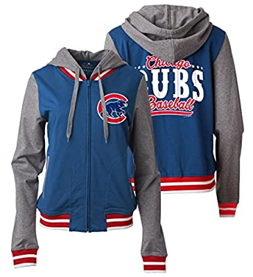 Chicago Cubs Women's Zip Front French Terry Hoodie by 5th and Ocean