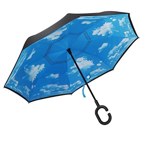 PLEMO 長傘 逆さ傘 逆折り式傘 手離れC型手元 耐風傘 撥水加工 ビジネス用車用 晴天の空 爽やか 107センチ