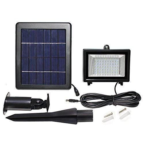 Meikee 60 LED Solar Lights Outdoor Security Floodlight , 300 Lumen, IP65 Waterproof, 6000K Daylight White, Auto-induction, Solar Flood Light for Lawn, Garden, Pool , etc.