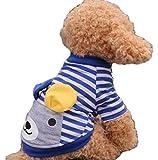犬 猫 服 ボーダー 柄 ペット ウェア / 赤 青 / おもちゃ 付き / XS S M L XL (青, M)