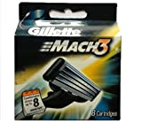 Gillette Mach3 Brand New Blades/ cartridges 100% Genuine - 8 blades