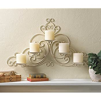 VINTAGE STYLE SCROLLWORK PILLAR CANDLE HOLDER IVORY WHITE WALL SCONCE