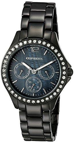 Cepheus CP502-622 - Reloj analógico de cuarzo para mujer con correa de aleación, color negro