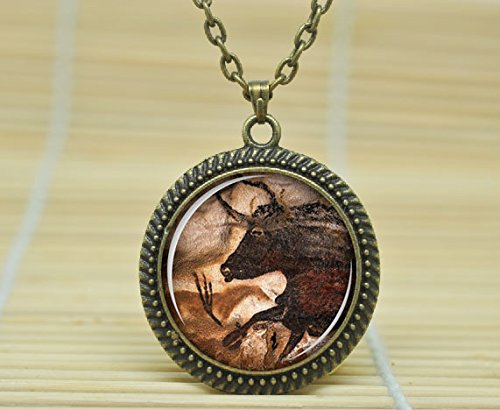 Fashion Jewelry Cave Art Necklace Cave Art Pendant Cave Art Jewelry Art Pendant Charm Glass Cabochon Necklace A1260