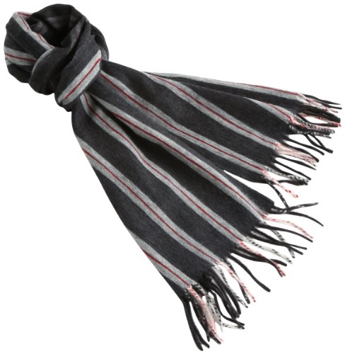 (ドレイクス)DRAKE'S REGIMENTAL STRIPE SEMI REVERSIBLE WOVEN SCARF AL01.13056  001 CHARCOAL F