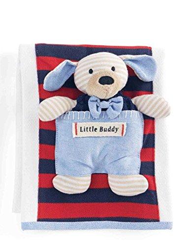 Mud Pie Burp Cloth with Puppy Rattle, Blue