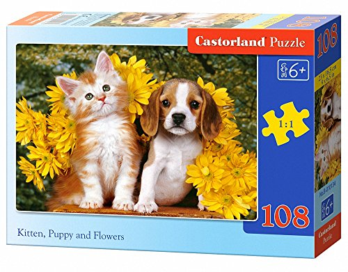 Castorland Kitten Puppy and Flowers Jigsaw (108-Piece) - 1
