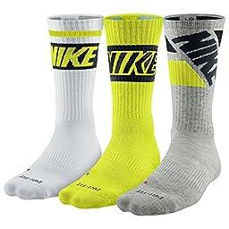 Nike Dri Fit Men\'s Cushioned Crew Socks (Large, Cyber/Grey/White)