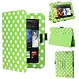 Polka Dot Green Leather Cover Sleeve Case With Stand and Sleep Mode For Amazon Kindle Fire HD 7