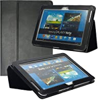 Poetic Slimbook Leather Case For Samsung Galaxy Note 10.1 N8000 N8010 Tablet Black(Intergrated HandStrap)