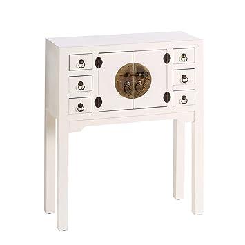 AXIDECOR - Mueble Auxiliar - Recibidor ORIENTE Blanco 2 Puertas 6 Cajones - iBERGADA