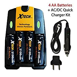 Xtech 4 AA Nimh High -Capacity Rechargeable Batteries 3100mAh plus Quick AC/DC Charger with Car Charger Adapter for Remote control, TV Remote Controllers, Game Controllers, Joysticks, Remote Control Trucks, Remote Control Car