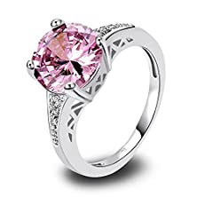 buy Psiroy 925 Sterling Silver Stunning Created Gorgeous Women'S 10Mm*10Mm Round Cut Pink Topaz Cz Filled Ring