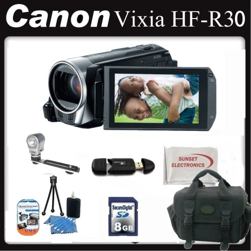Canon Vixia HF-R30 (HFR30) Camcorder Deluxe Package. Includes 8GB Memory Card, Card Reader, Video Light, Large Case and More! 5976B002