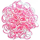 Official Rainbow Loom 300 Two Tone Pink/White Refill Bands w/ C Clips