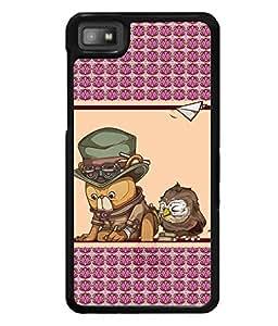 PRINTVISA Owl Frendship Premium Metallic Insert Back Case Cover for Blackberry Z10 - D5979