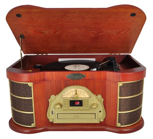 Pyle Home PTCDS1U Classical Turntable with AM/FM Radio CD/Cassette and USB Recording