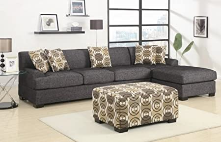 Furniture2go F7447 + F7445 Montreal Ash Black Faux Linen Over-Sized Sectional Sofa - Reversible Chaise, Modular Sectional, 5 Accent Pillows