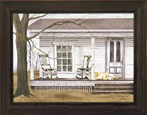 The Long Wait by Billy Jacobs 15x19 Dog Porch Rockers Rocking Chairs Country Primitive Folk Art Print Wall Décor Framed Picture
