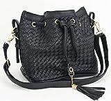 高見え確実 トレンド感溢れる編み込みショルダーバケットバッグ 2色 ブラック