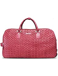 BRUNE Unisex Wine Color Genuine Leather Hand Weave Strolley Bag/Designer Leather Duffle Bag/Branded Leather Strolley...