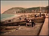 Victorian View of the Beach, Aberystwyth, Wales, Large A3 size 41 by 28 cm Canvas Textured Fine Art Paper Photo Print