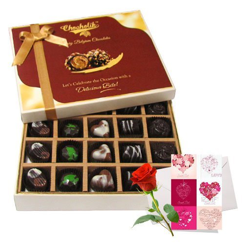 Adorable Treat Of Dark And Milk Chocolate Box With Love Card And Rose - Chocholik Belgium Chocolates