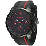 Peugeot Men's 2046BRD Chronograph Sport Watch with Silicon Band Multi Dial Analog Display Quartz Black Watch