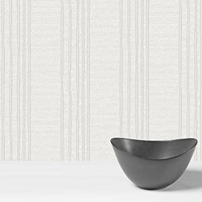 Wiggle Striped Paintable Wallpaper In White Full Roll by wallpaper heaven