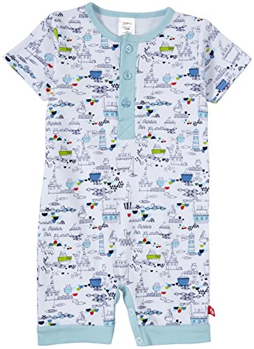 Zutano Baby-Boys Newborn Out To Sea Henley Romper, White, Newborn/Preemie