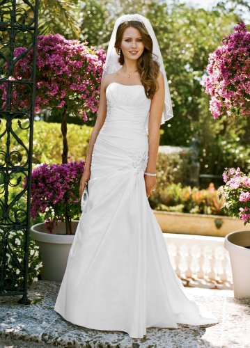 Side-Draped Fit Flare Wedding Dress with Applique Detail White