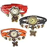 Combo of 3 VB-310 Vintage Butterfly Black + Orange + Red
