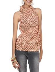 Rajrang Cotton Brown Screen Printed Tunic Top Size: M - B00AXY06HA